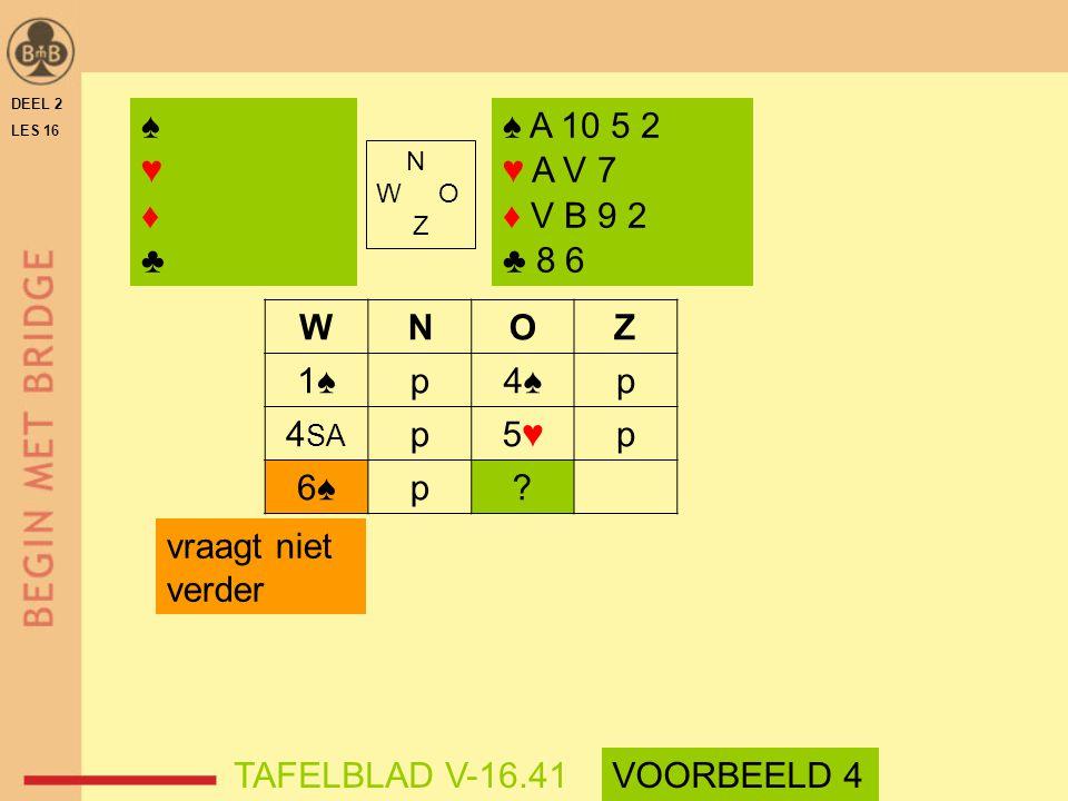 ♠ ♥ ♦ ♣ ♠ A 10 5 2 ♥ A V 7 ♦ V B 9 2 ♣ 8 6 W N O Z 1♠ p 4♠ 4SA 5♥ 6♠