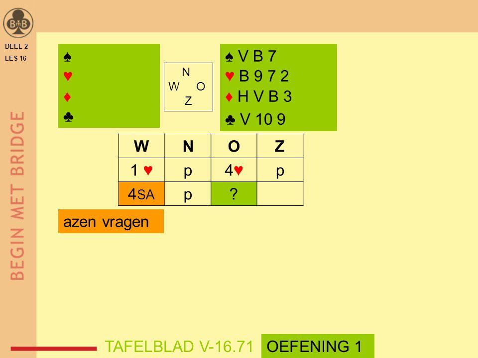 ♠ ♥ ♦ ♣ ♠ V B 7 ♥ B 9 7 2 ♦ H V B 3 ♣ V 10 9 W N O Z 1 ♥ p 4♥ 4SA