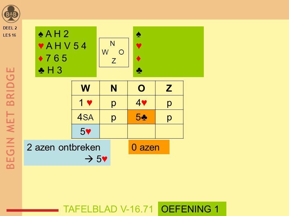 ♠ A H 2 ♥ A H V 5 4 ♦ 7 6 5 ♣ H 3 ♠ ♥ ♦ ♣ W N O Z 1 ♥ p 4♥ 4SA 5♣ 5♥