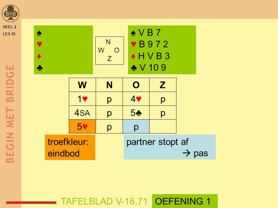♠ ♥ ♦ ♣ ♠ V B 7 ♥ B 9 7 2 ♦ H V B 3 ♣ V 10 9 W N O Z 1♥ p 4♥ 4SA 5♣ 5♥