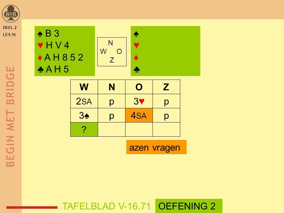 ♠ B 3 ♥ H V 4 ♦ A H 8 5 2 ♣ A H 5 ♠ ♥ ♦ ♣ W N O Z 2SA p 3♥ 3♠ 4SA