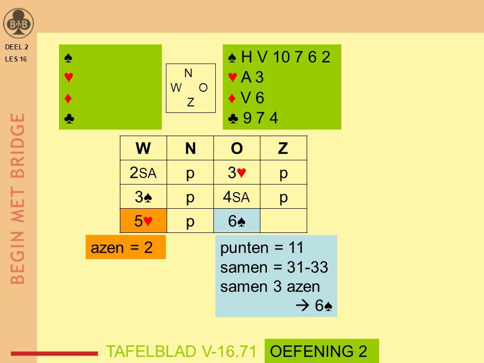♠ ♥ ♦ ♣ ♠ H V 10 7 6 2 ♥ A 3 ♦ V 6 ♣ 9 7 4 W N O Z 2SA p 3♥ 3♠ 4SA 5♥