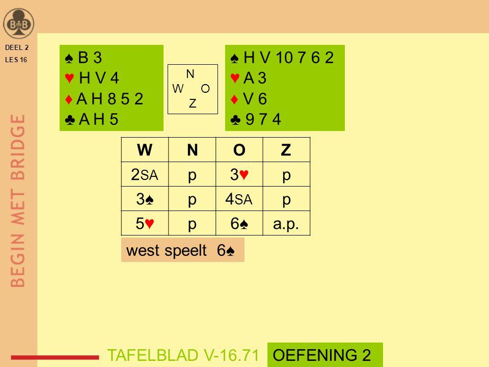♠ B 3 ♥ H V 4 ♦ A H 8 5 2 ♣ A H 5 ♠ H V 10 7 6 2 ♥ A 3 ♦ V 6 ♣ 9 7 4 W