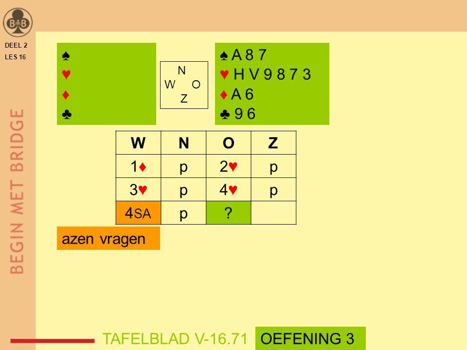 ♠ ♥ ♦ ♣ ♠ A 8 7 ♥ H V 9 8 7 3 ♦ A 6 ♣ 9 6 W N O Z 1♦ p 2♥ 3♥ 4♥ 4SA