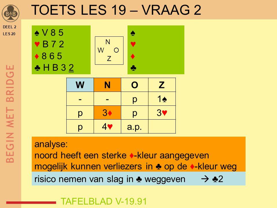TOETS LES 19 – VRAAG 2 ♠ V 8 5 ♥ B 7 2 ♦ 8 6 5 ♣ H B 3 2 ♠ ♥ ♦ ♣ W N O