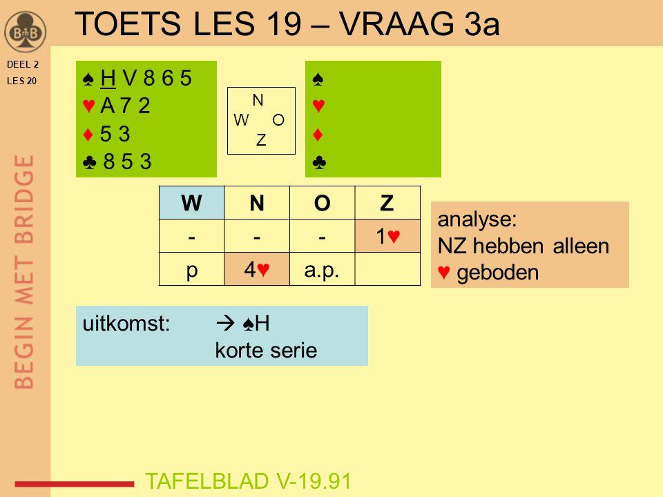 TOETS LES 19 – VRAAG 3a ♠ H V 8 6 5 ♥ A 7 2 ♦ 5 3 ♣ 8 5 3 ♠ ♥ ♦ ♣ W N