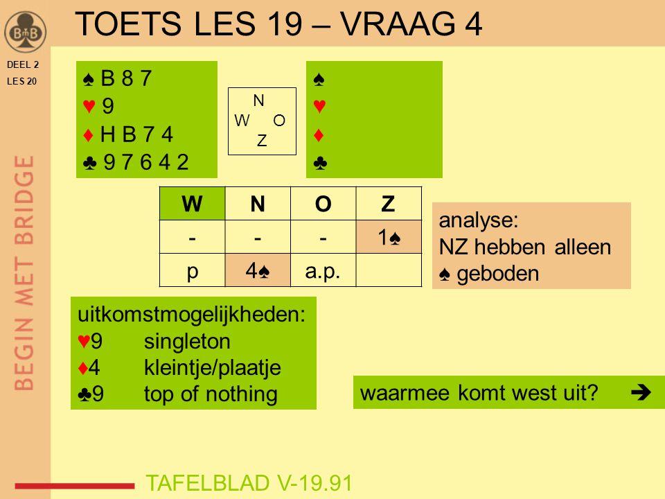TOETS LES 19 – VRAAG 4 ♠ B 8 7 ♥ 9 ♦ H B 7 4 ♣ 9 7 6 4 2 ♠ ♥ ♦ ♣ W N O