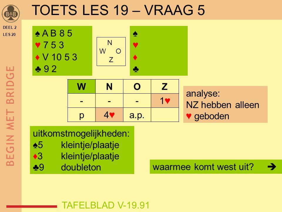 TOETS LES 19 – VRAAG 5 ♠ A B 8 5 ♥ 7 5 3 ♦ V 10 5 3 ♣ 9 2 ♠ ♥ ♦ ♣ W N