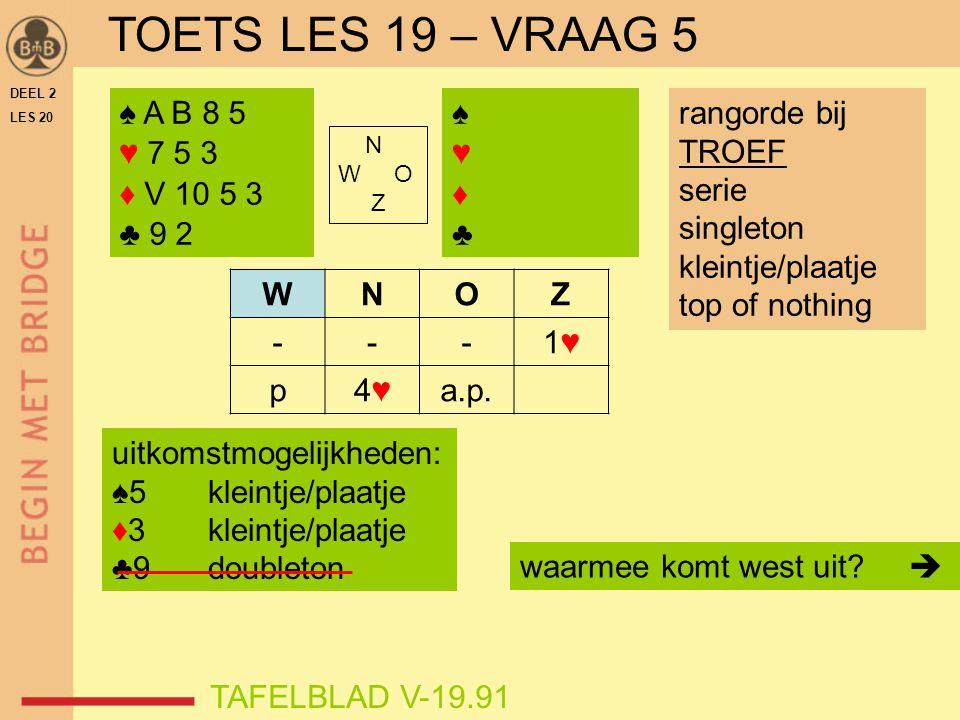 TOETS LES 19 – VRAAG 5 ♠ A B 8 5 ♥ 7 5 3 ♦ V 10 5 3 ♣ 9 2 ♠ ♥ ♦ ♣