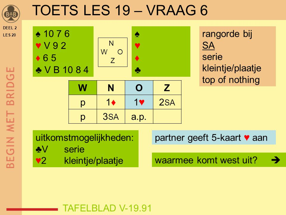 TOETS LES 19 – VRAAG 6 ♠ 10 7 6 ♥ V 9 2 ♦ 6 5 ♣ V B 10 8 4 ♠ ♥ ♦ ♣