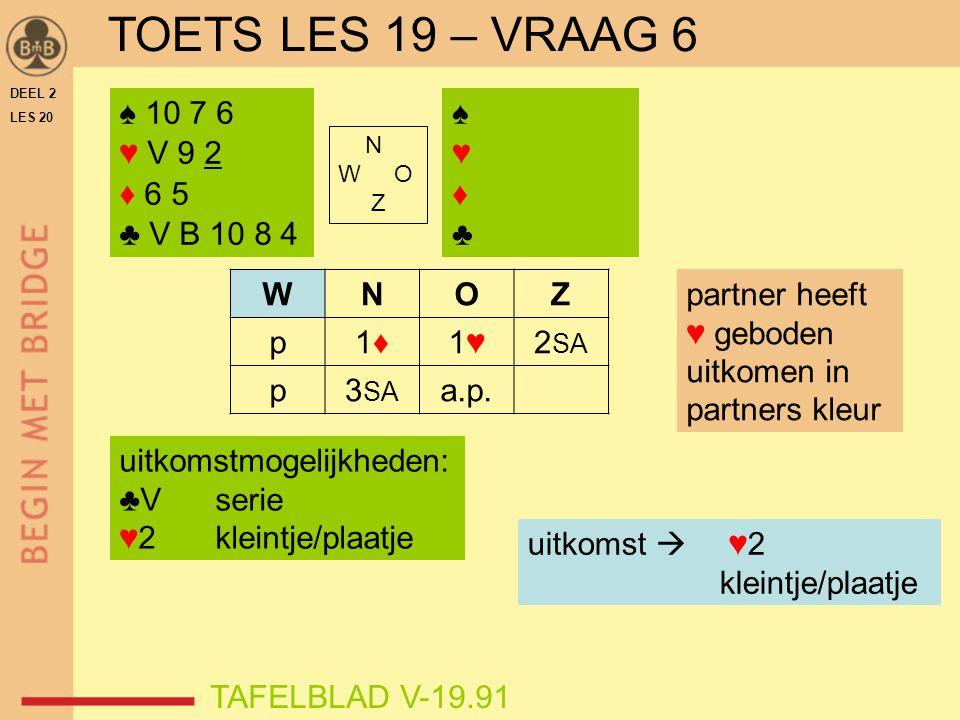 TOETS LES 19 – VRAAG 6 ♠ 10 7 6 ♥ V 9 2 ♦ 6 5 ♣ V B 10 8 4 ♠ ♥ ♦ ♣ W N