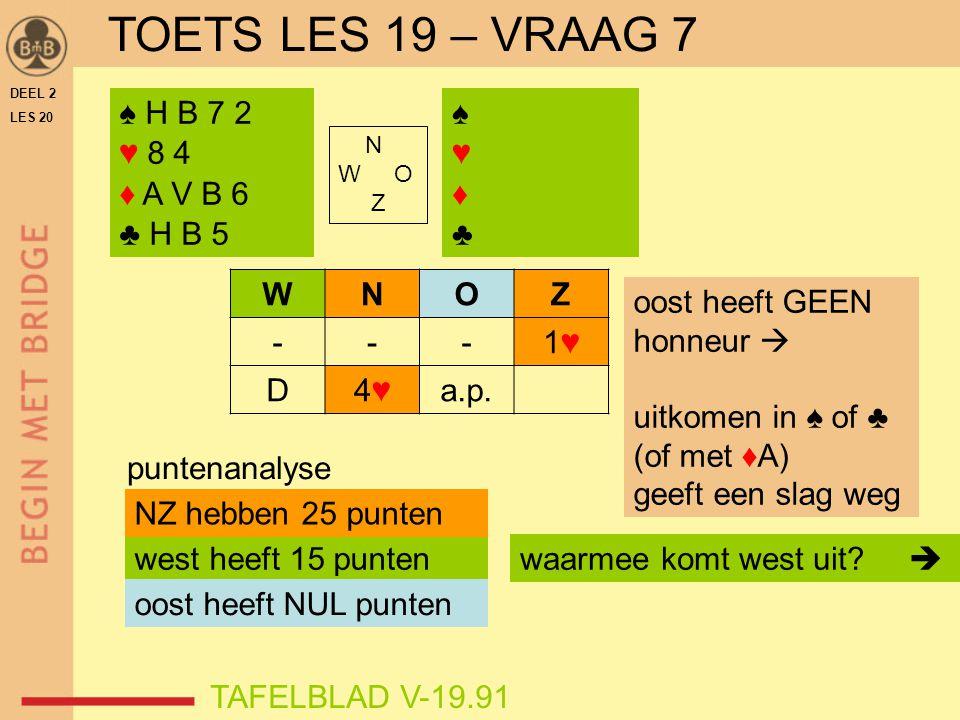 TOETS LES 19 – VRAAG 7 ♠ H B 7 2 ♥ 8 4 ♦ A V B 6 ♣ H B 5 ♠ ♥ ♦ ♣ W N O