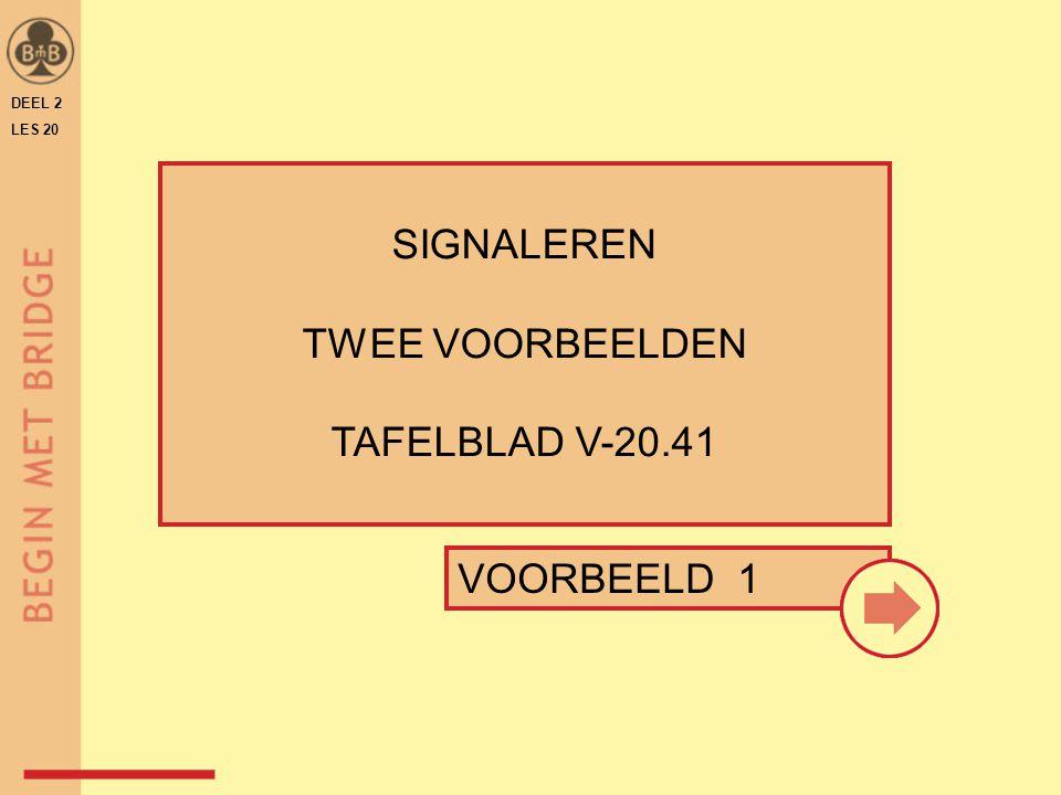 SIGNALEREN TWEE VOORBEELDEN TAFELBLAD V-20.41 VOORBEELD 1 DEEL 2