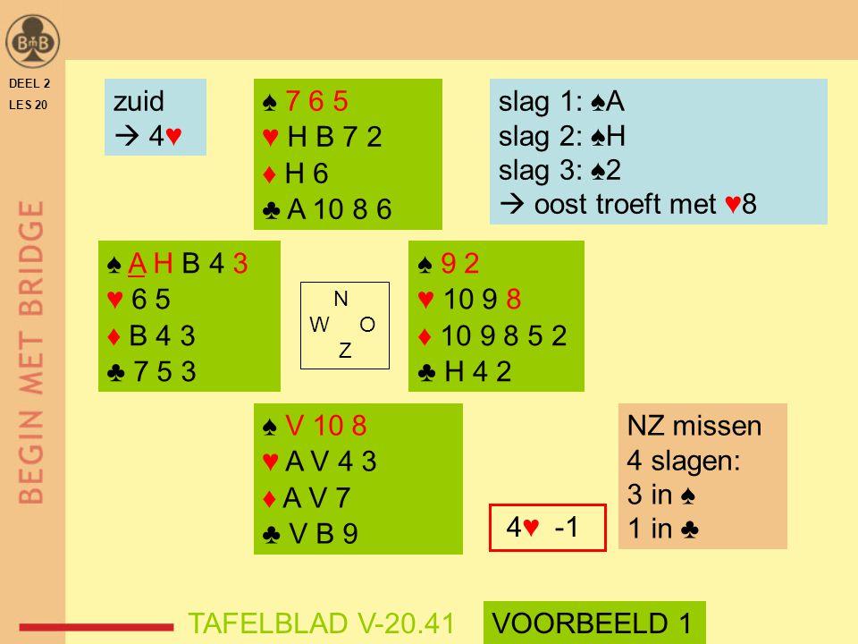 zuid  4♥ ♠ 7 6 5 ♥ H B 7 2 ♦ H 6 ♣ A 10 8 6 slag 1: ♠A slag 2: ♠H