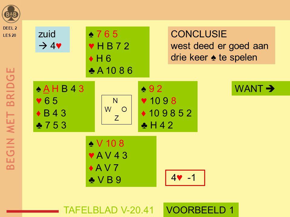zuid  4♥ ♠ 7 6 5 ♥ H B 7 2 ♦ H 6 ♣ A 10 8 6 CONCLUSIE