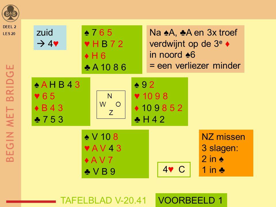 Na ♠A, ♣A en 3x troef verdwijnt op de 3e ♦ in noord ♠6