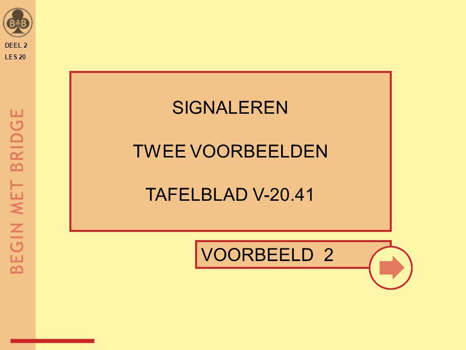 SIGNALEREN TWEE VOORBEELDEN TAFELBLAD V-20.41 VOORBEELD 2 DEEL 2