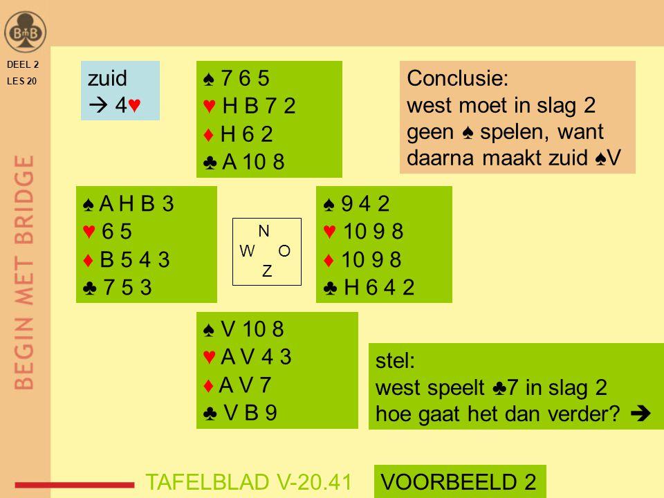 geen ♠ spelen, want daarna maakt zuid ♠V