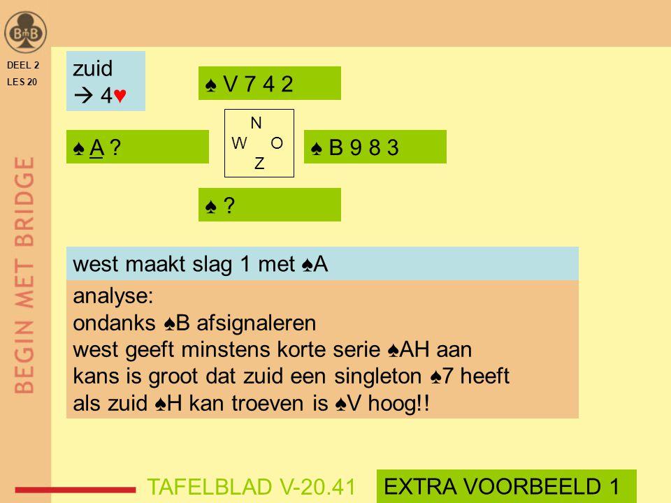 ondanks ♠B afsignaleren west geeft minstens korte serie ♠AH aan
