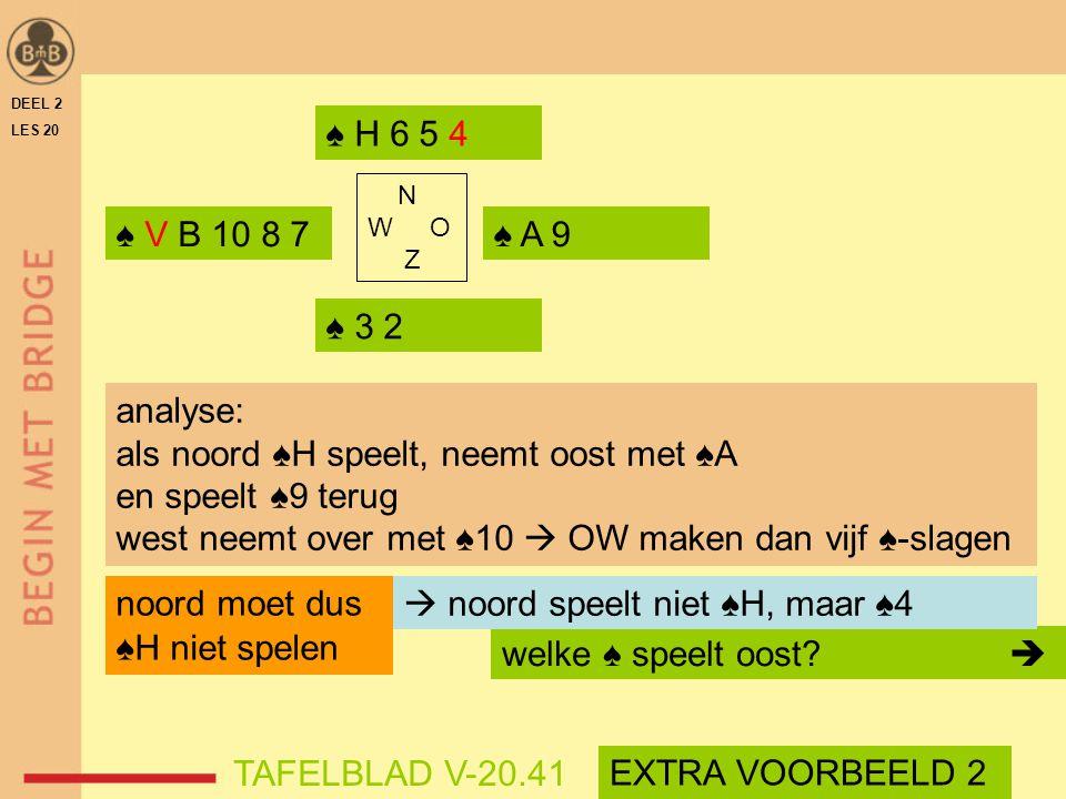 als noord ♠H speelt, neemt oost met ♠A en speelt ♠9 terug