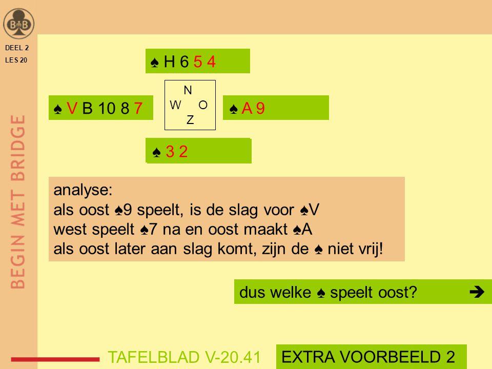 als oost ♠9 speelt, is de slag voor ♠V