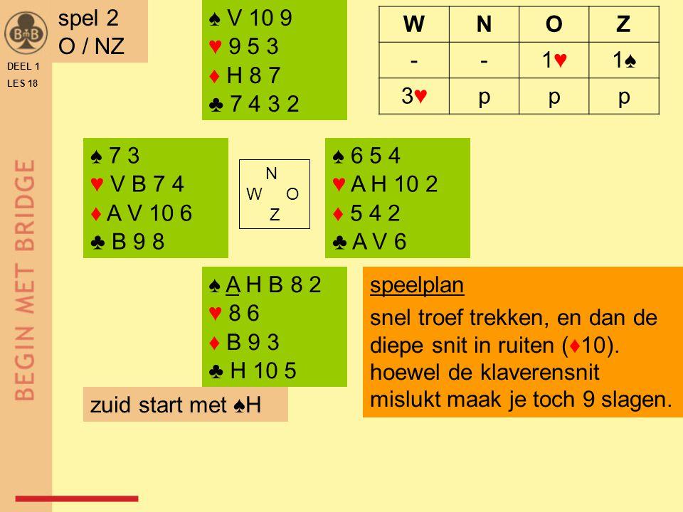 spel 2 O / NZ ♠ V 10 9 ♥ 9 5 3 ♦ H 8 7 ♣ 7 4 3 2 W N O Z - 1♥ 1♠ 3♥ p