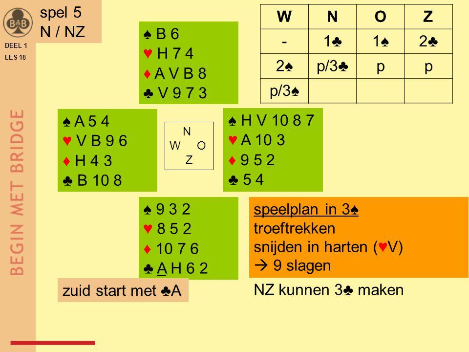 spel 5 N / NZ W N O Z - 1♣ 1♠ 2♣ 2♠ p/3♣ p p/3♠ ♠ B 6 ♥ H 7 4