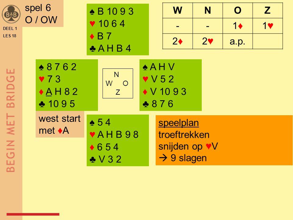 spel 6 O / OW ♠ B 10 9 3 ♥ 10 6 4 ♦ B 7 ♣ A H B 4 W N O Z - 1♦ 1♥ 2♦