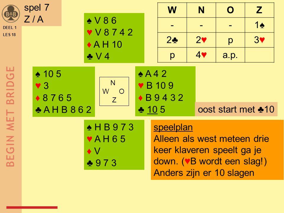 spel 7 Z / A W N O Z - 1♠ 2♣ 2♥ p 3♥ 4♥ a.p. ♠ V 8 6 ♥ V 8 7 4 2