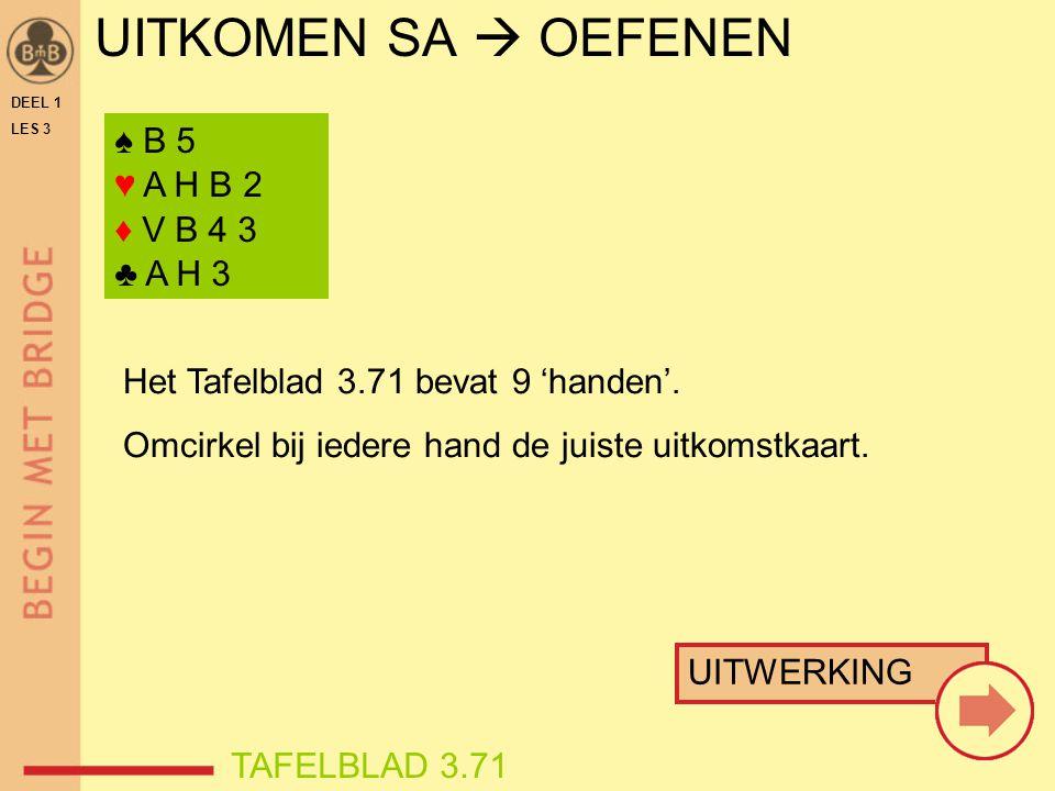 UITKOMEN SA  OEFENEN ♠ B 5 ♥ A H B 2 ♦ V B 4 3 ♣ A H 3