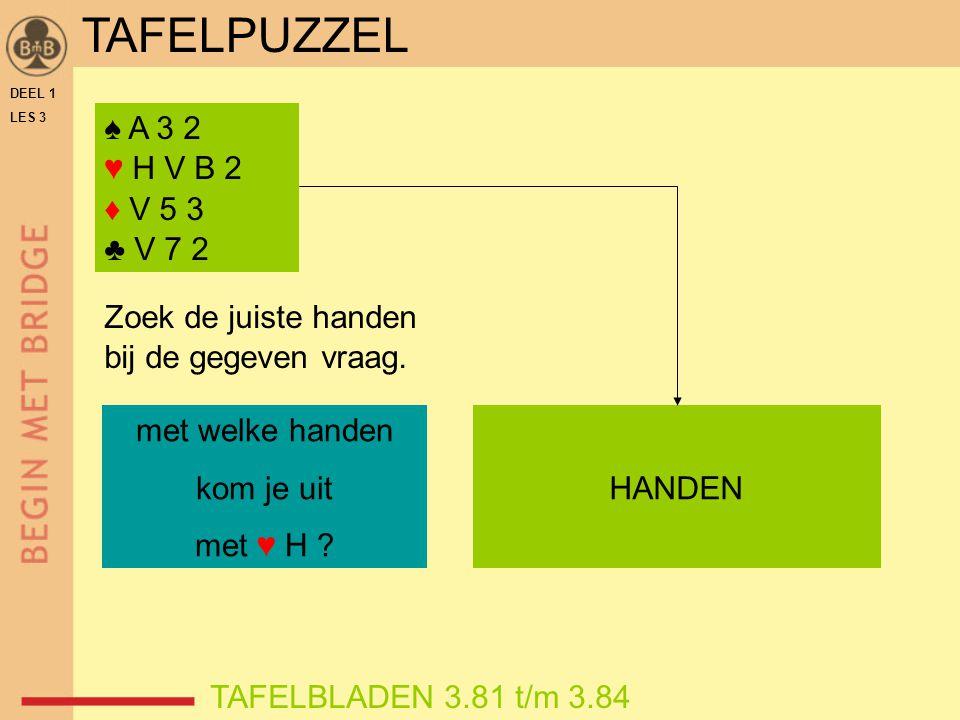 TAFELPUZZEL ♠ A 3 2 ♥ H V B 2 ♦ V 5 3 ♣ V 7 2 Zoek de juiste handen