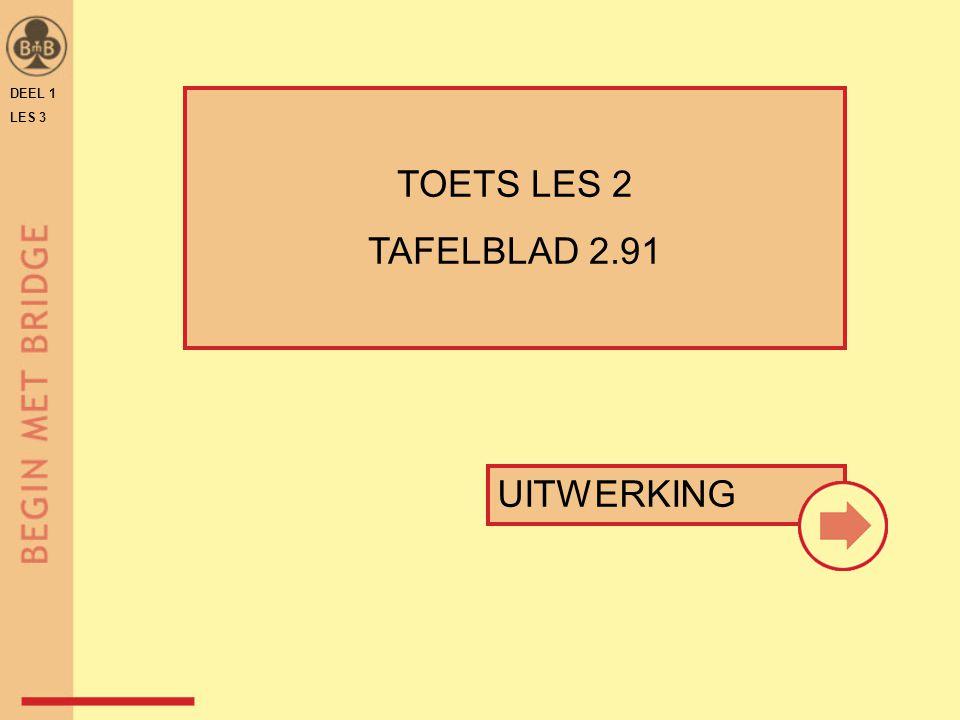 DEEL 1 LES 3 TOETS LES 2 TAFELBLAD 2.91 UITWERKING