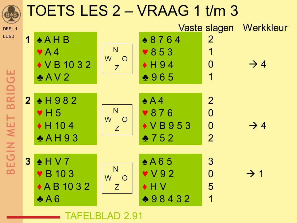 TOETS LES 2 – VRAAG 1 t/m 3 Vaste slagen Werkkleur 1 ♠ A H B ♥ A 4