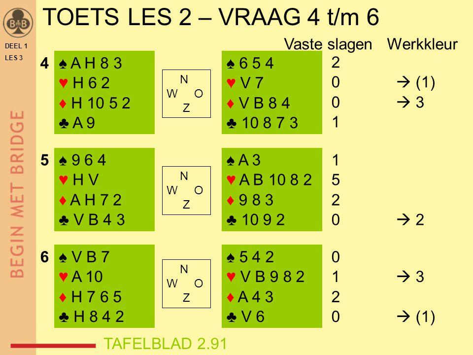 TOETS LES 2 – VRAAG 4 t/m 6 Vaste slagen Werkkleur 4 ♠ A H 8 3 ♥ H 6 2