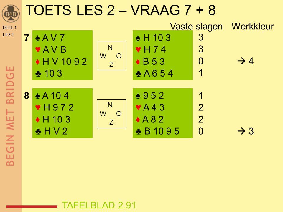 TOETS LES 2 – VRAAG 7 + 8 Vaste slagen Werkkleur 7 ♠ A V 7 ♥ A V B