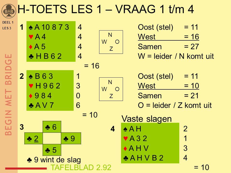 H-TOETS LES 1 – VRAAG 1 t/m 4 Vaste slagen 1 ♠ A 10 8 7 3 ♥ A 4 ♦ A 5