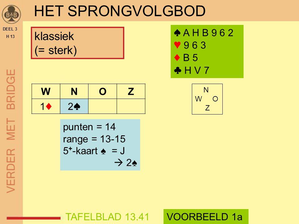 HET SPRONGVOLGBOD klassiek (= sterk) ♠ A H B 9 6 2 ♥ 9 6 3 ♦ B 5