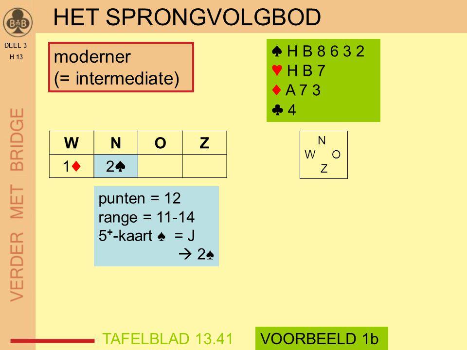 HET SPRONGVOLGBOD moderner (= intermediate) ♠ H B 8 6 3 2 ♥ H B 7