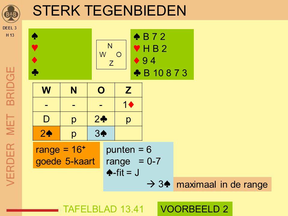 STERK TEGENBIEDEN ♠ ♥ ♦ ♣ ♠ B 7 2 ♥ H B 2 ♦ 9 4 ♣ B 10 8 7 3 W N O Z -