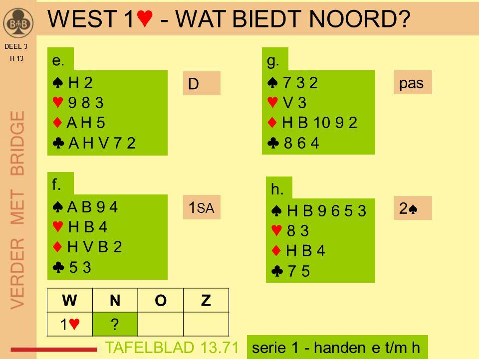 WEST 1♥ - WAT BIEDT NOORD e. g. ♠ H 2 ♥ 9 8 3 ♦ A H 5 ♣ A H V 7 2 D