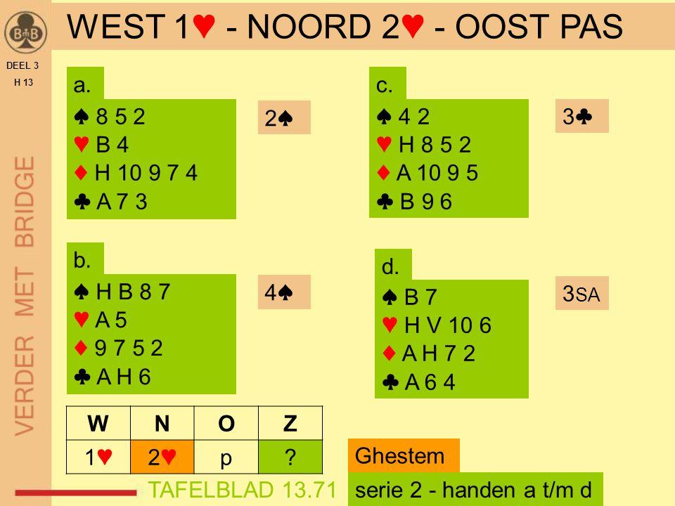WEST 1♥ - NOORD 2♥ - OOST PAS
