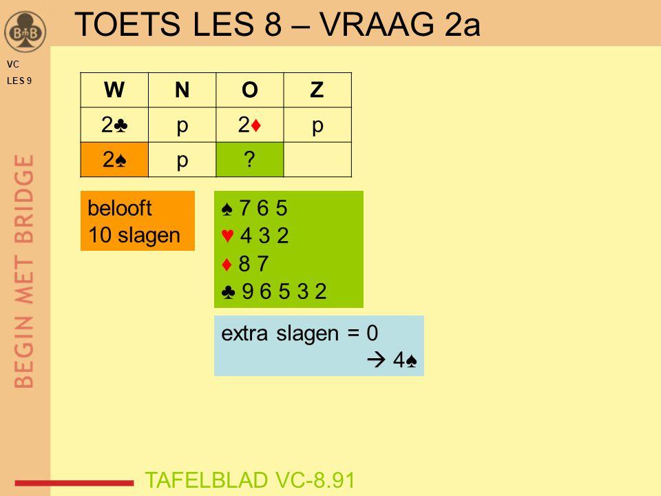 TOETS LES 8 – VRAAG 2a W N O Z 2♣ p 2♦ 2♠ belooft 10 slagen ♠ 7 6 5