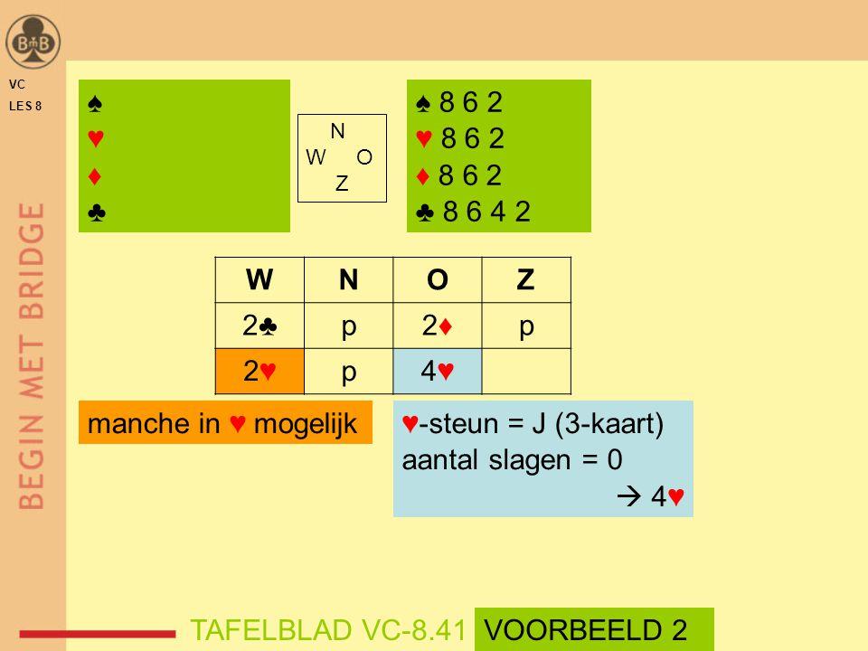 VC LES 8. ♠ ♥ ♦ ♣ ♠ 8 6 2. ♥ 8 6 2. ♦ 8 6 2. ♣ 8 6 4 2. N. W O. Z. W. N. O. Z. 2♣