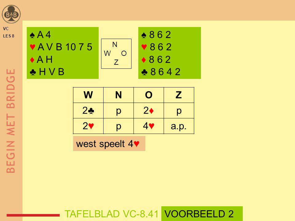 VC LES 8. ♠ A 4. ♥ A V B 10 7 5. ♦ A H. ♣ H V B. ♠ 8 6 2. ♥ 8 6 2. ♦ 8 6 2. ♣ 8 6 4 2. N. W O.