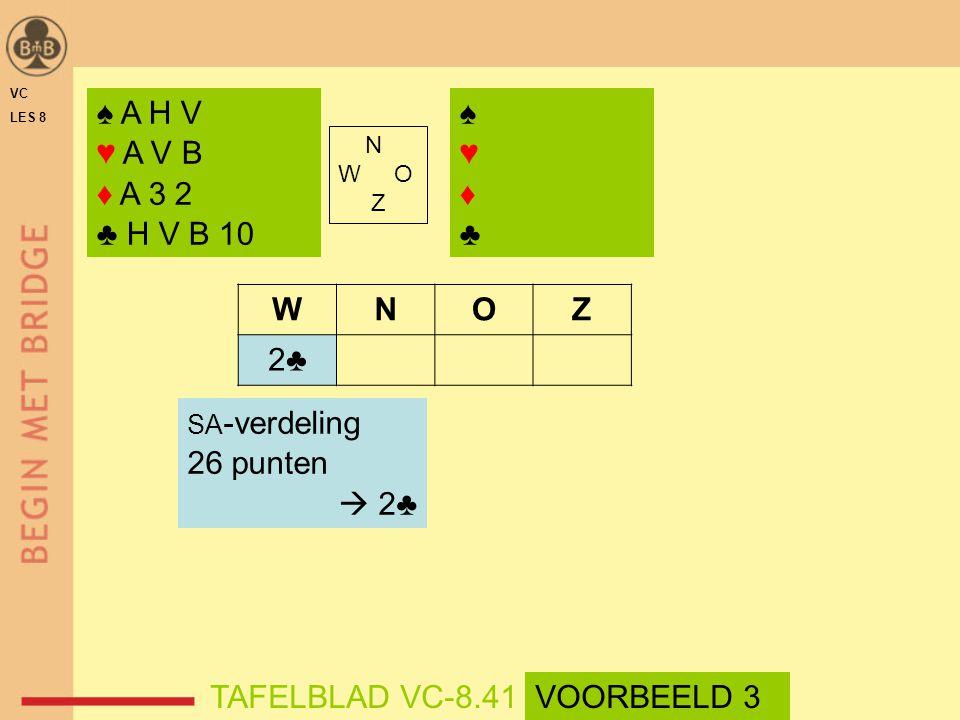 ♠ A H V ♥ A V B ♦ A 3 2 ♣ H V B 10 ♠ ♥ ♦ ♣ W N O Z 2♣ 26 punten  2♣