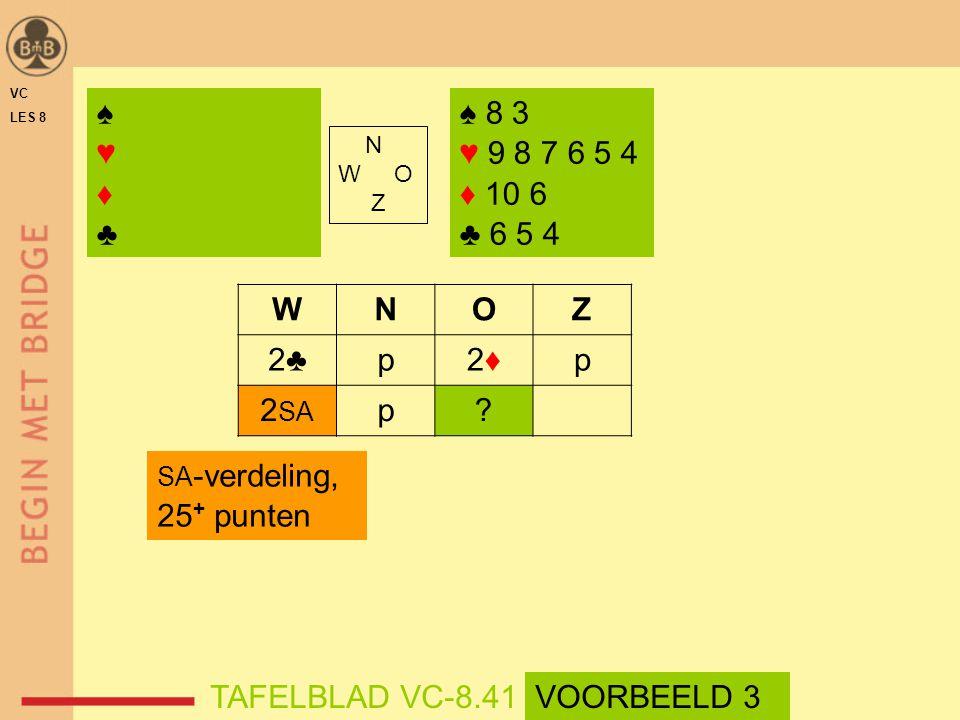 VC LES 8. ♠ ♥ ♦ ♣ ♠ 8 3. ♥ 9 8 7 6 5 4. ♦ 10 6. ♣ 6 5 4. N. W O. Z. W. N. O. Z. 2♣
