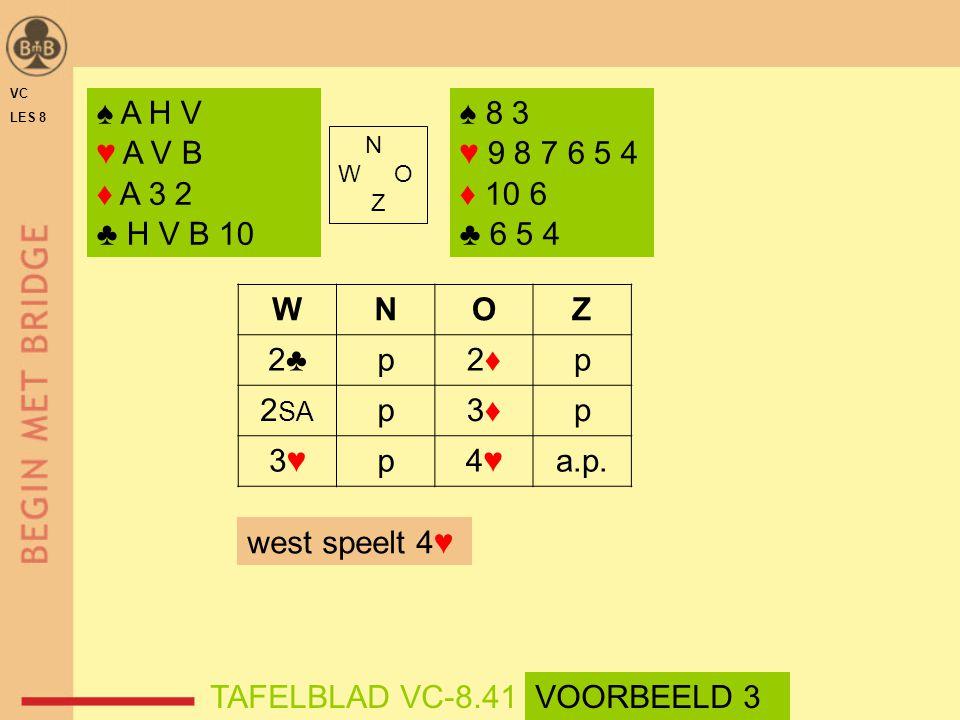 VC LES 8. ♠ A H V. ♥ A V B. ♦ A 3 2. ♣ H V B 10. ♠ 8 3. ♥ 9 8 7 6 5 4. ♦ 10 6. ♣ 6 5 4. N.