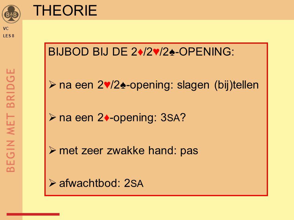 THEORIE BIJBOD BIJ DE 2♦/2♥/2♠-OPENING:
