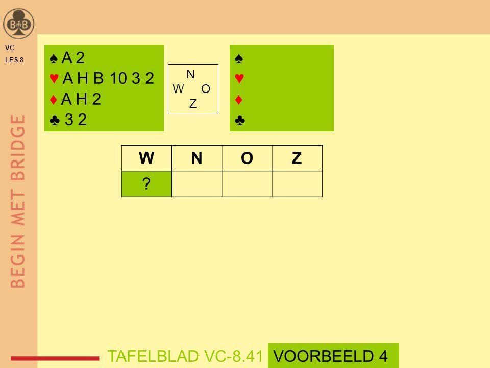 ♠ A 2 ♥ A H B 10 3 2 ♦ A H 2 ♣ 3 2 ♠ ♥ ♦ ♣ W N O Z TAFELBLAD VC-8.41