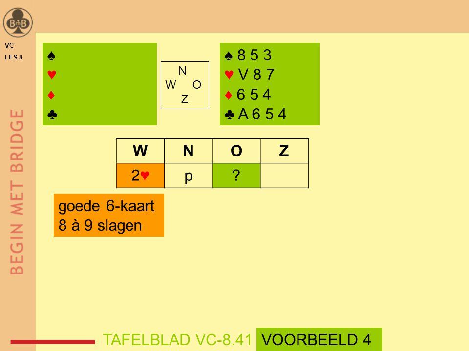 ♠ ♥ ♦ ♣ ♠ 8 5 3 ♥ V 8 7 ♦ 6 5 4 ♣ A 6 5 4 W N O Z 2♥ p goede 6-kaart